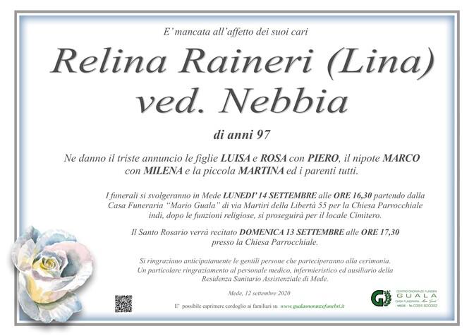 Necrologio di Relina Raineri (Lina) ved. Nebbia