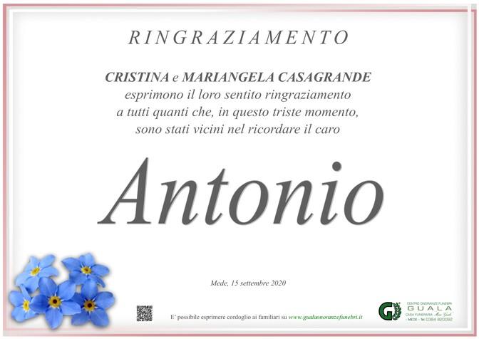 Ringraziamenti per Antonio Casagrande