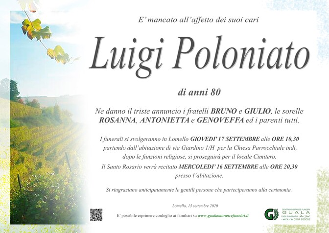 Necrologio di Luigi Poloniato