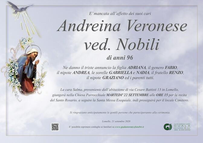 Necrologio di Andreina Veronese ved. Nobili