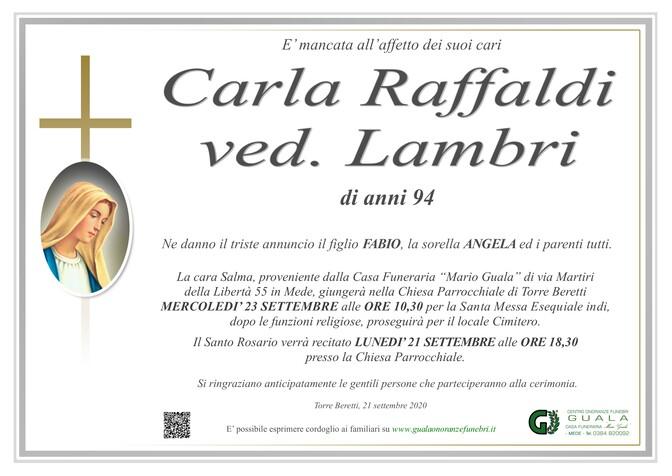 Necrologio di Carla Raffaldi ved. Lambri