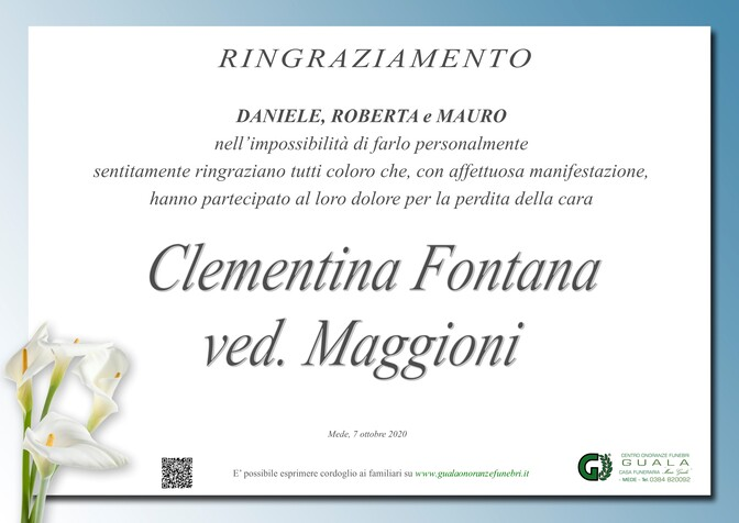 Ringraziamenti per Clementina Fontana ved. Maggioni