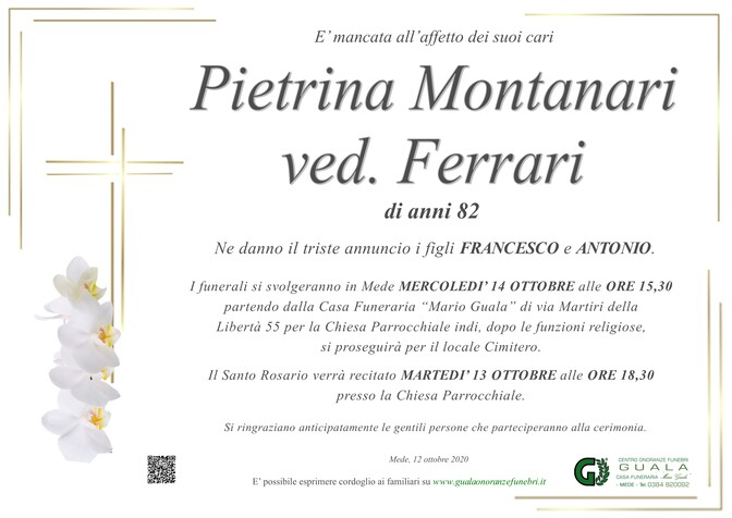 Necrologio di Pietrina Montanari ved. Ferrari