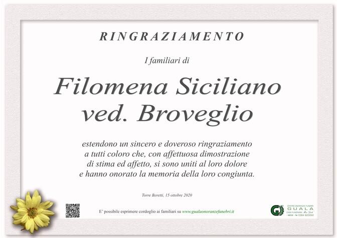 Necrologio di Filomena Siciliano ved. Broveglio