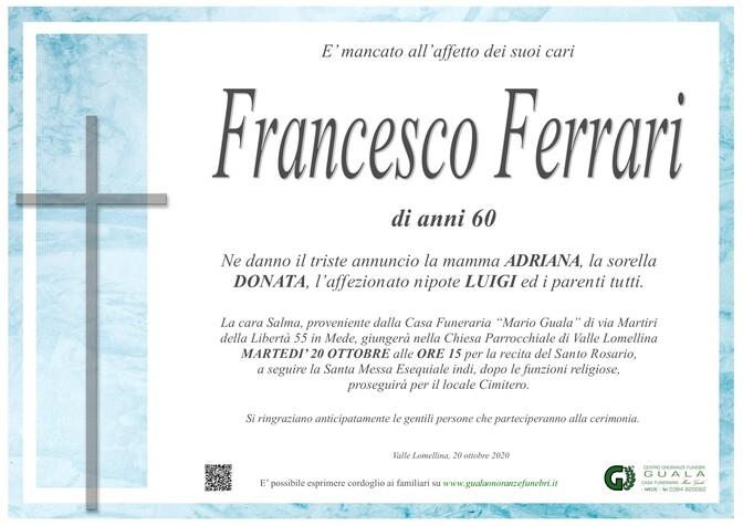 Necrologio di Francesco Ferrari