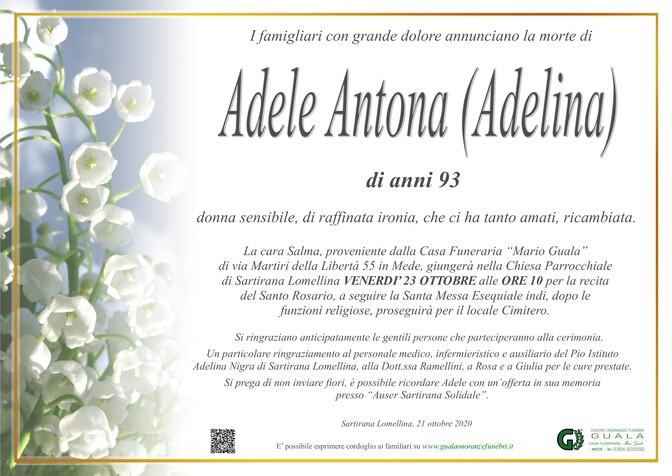 Necrologio di Adele Antona (Adelina)
