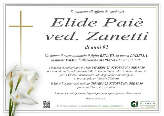 Necrologio di Elide Paiè ved. Zanetti