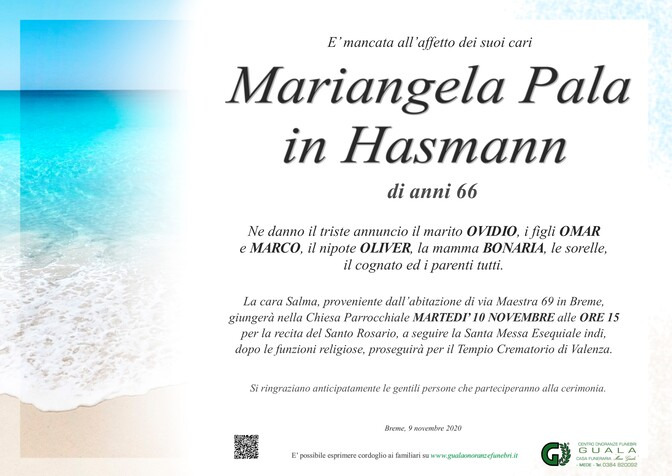 Necrologio di Mariangela Pala in Hasmann