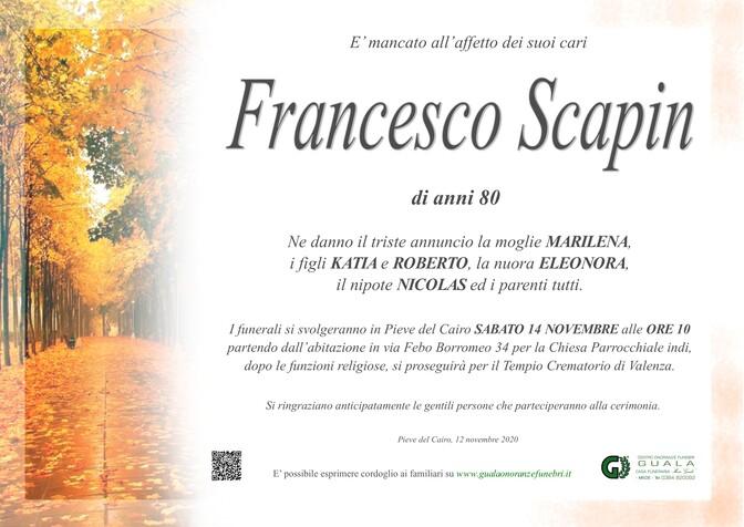 Necrologio di Francesco Scapin
