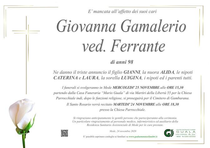 Necrologio di Giovanna Gamalerio ved. Ferrante