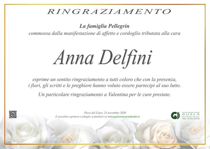 Ringraziamento per Anna Delfini ved. Pellegrin