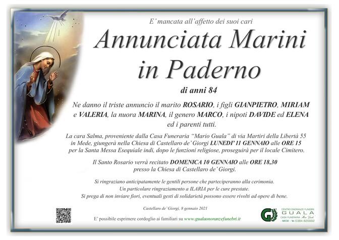 Necrologio di Annunciata Marini in Paderno