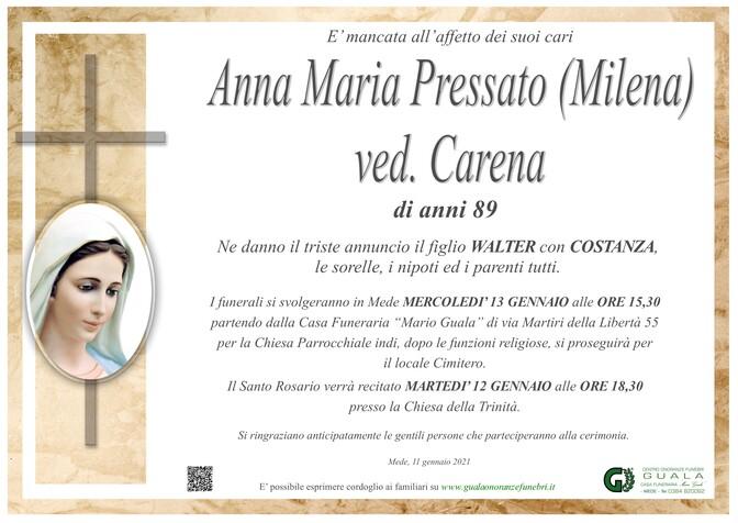 Necrologio di Anna Maria Pressato (Milena) ved. Carena