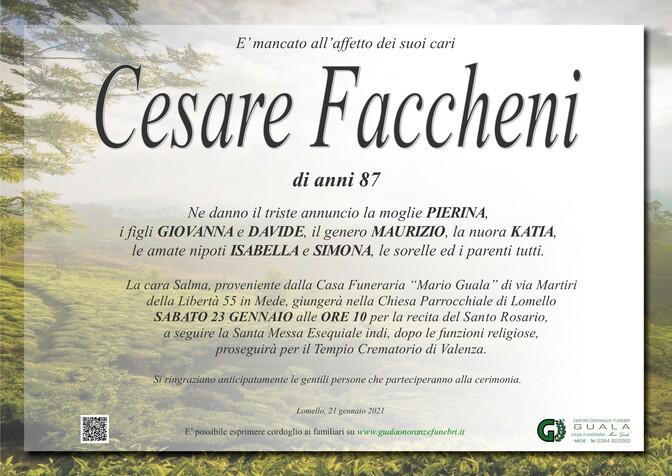 Necrologio di Cesare Faccheni