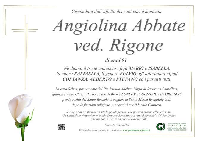 Necrologio di Angiolina Abbate ved. Rigone