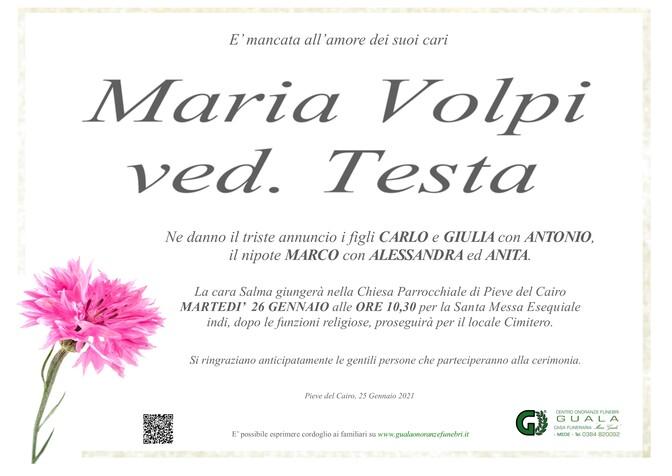Necrologio di Maria Volpi ved. Testa
