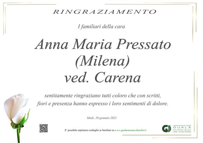 Ringraziamento per Anna Maria Pressato (Milena) ved. Carena
