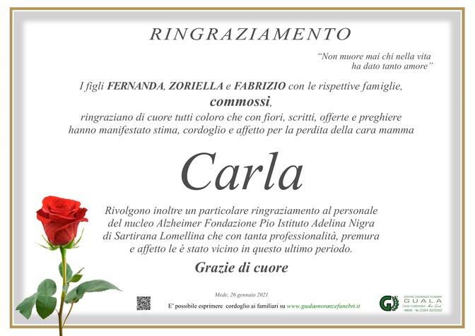 Ringraziamento per Carla Regalin ved. Vernizzi