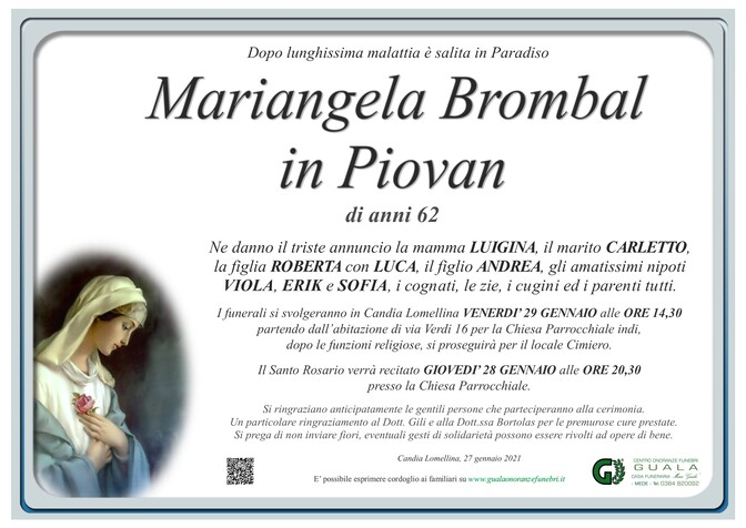 Necrologio di Mariangela Brombal in Piovan