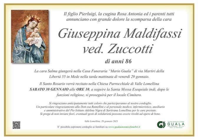 Necrologio di Giuseppina Maldifassi ved. Zuccotti