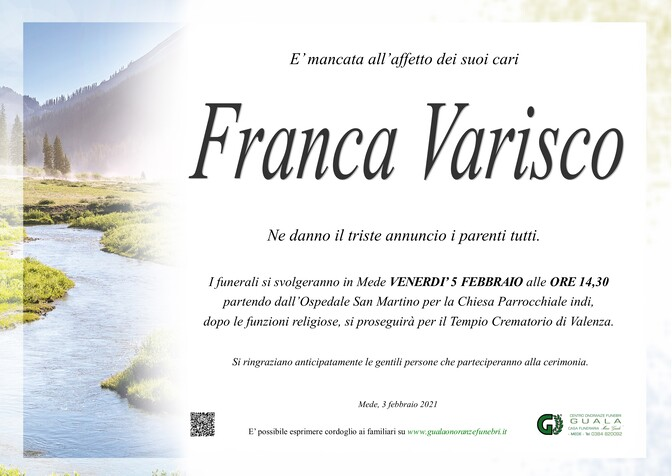 Necrologio di Franca Varisco