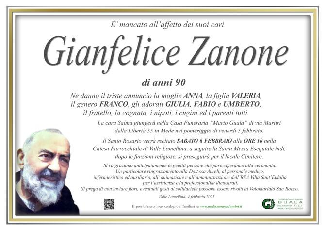 Necrologio di Gianfelice Zanone
