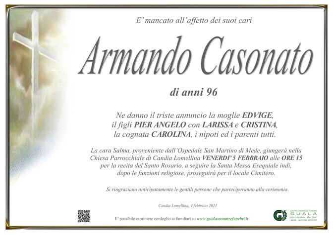 Necrologio di Armando Casonato