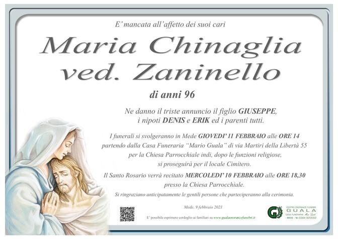 Necrologio di Maria Chinaglia ved. Zaninello