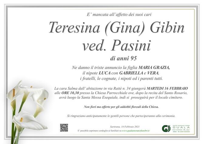 Necrologio di Teresina Gibin (Gina) ved. Pasini