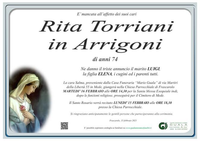 Necrologio di Rita Torriani in Arrigoni