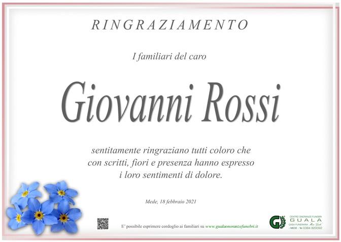 Ringraziamenti per Giovanni Rossi