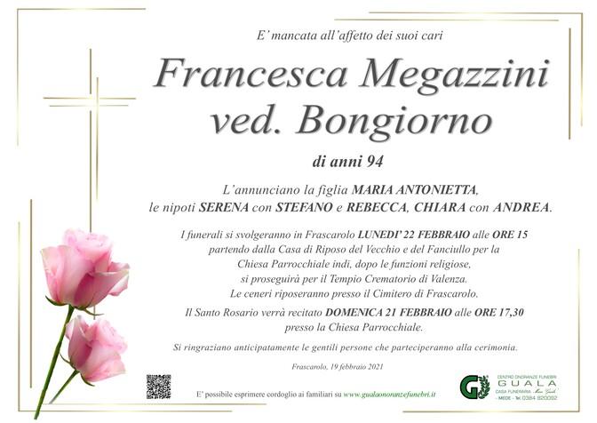 Necrologio di Francesca Megazzini ved. Bongiorno