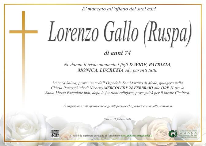 Necrologio di Gallo Lorenzo (Ruspa)