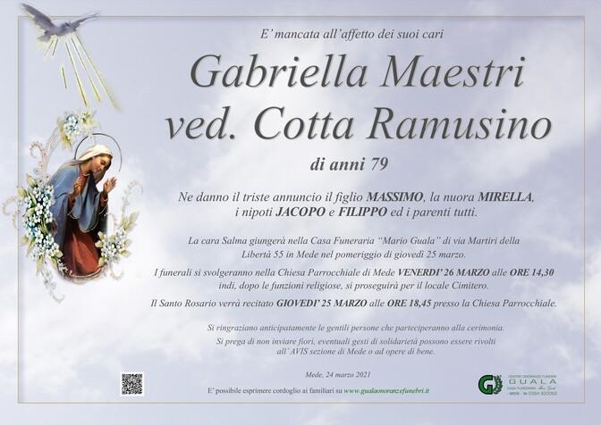 Necrologio di Gabriella Maestri ved. Cotta Ramusino