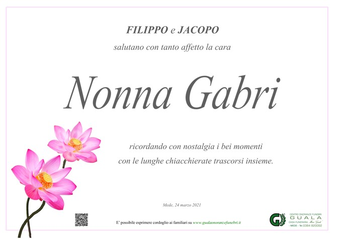 Ringraziamenti per Gabriella Maestri ved. Cotta Ramusino
