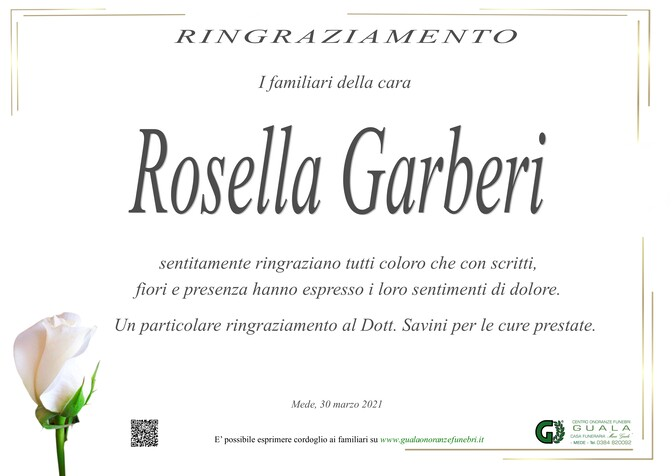 Ringraziamenti per Rosella Garberi