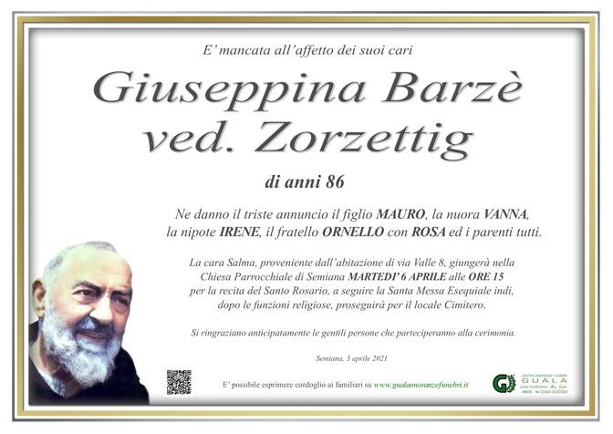 Necrologio di Giuseppina Barzè ved. Zorzettig