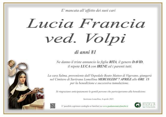 Necrologio di Lucia Francia ved. Volpi