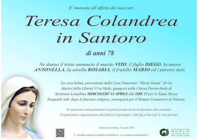 Necrologio di Teresa Colandrea in Santoro