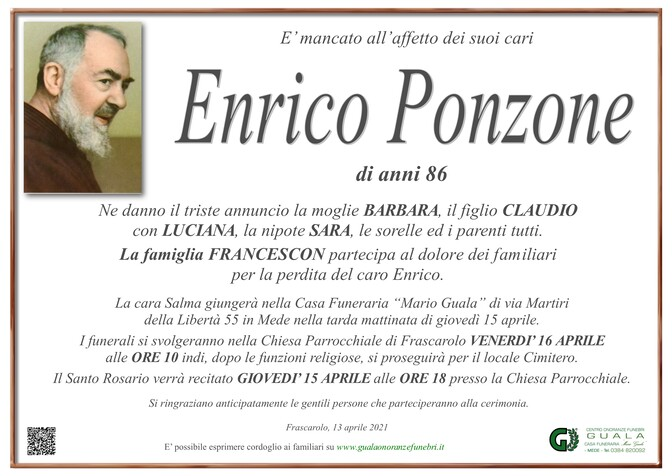 Necrologio di Enrico Ponzone e Pierbarbara Volpi