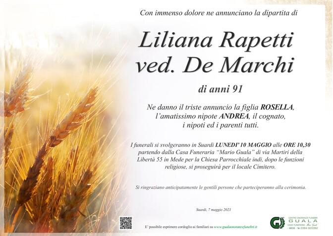 Necrologio di Liliana Rapetti ved. De Marchi