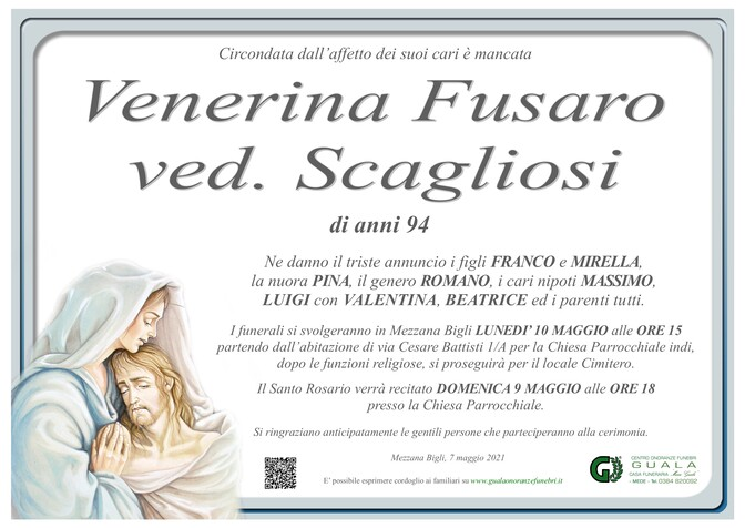 Necrologio di Venerina Fusaro ved. Scagliosi