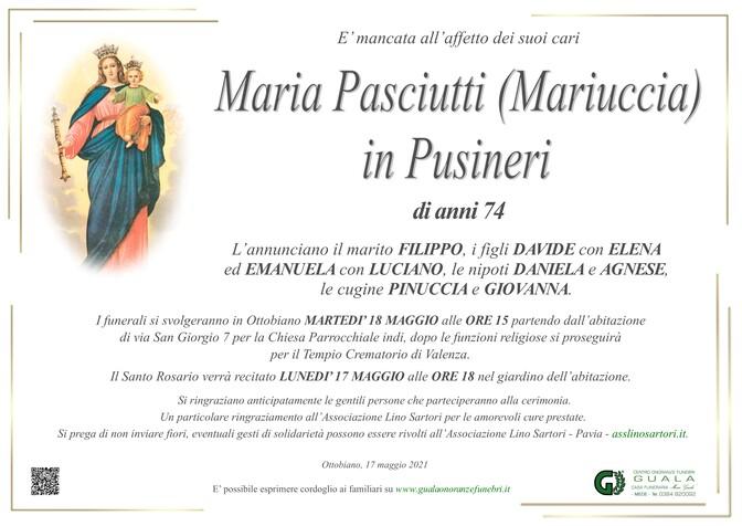 Necrologio di Maria Pasciutti (Mariuccia) in Pusineri