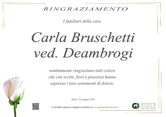 Necrologio di Carla Bruschetti ved. Deambrogi