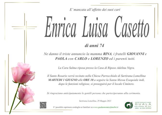 Necrologio di Enrica Luisa Casetto