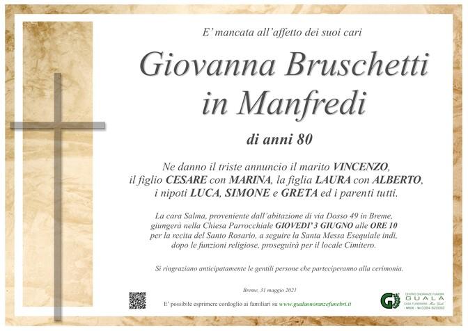 Necrologio di Giovanna Bruschetti in Manfredi