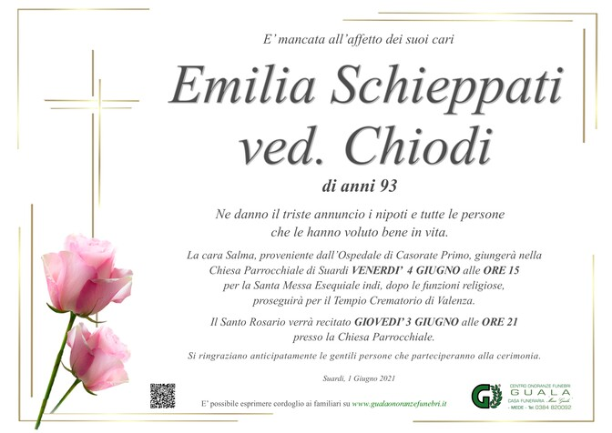 Necrologio di Emilia Schieppati