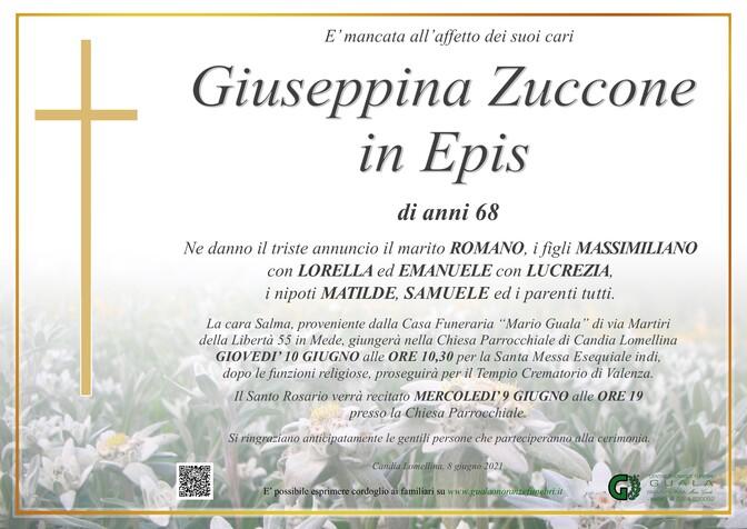 Necrologio di Giuseppina Zuccone in Epis