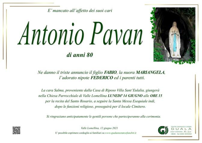 Necrologio di Antonio Pavan