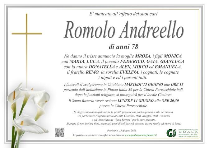 Necrologio di Romolo Andreello
